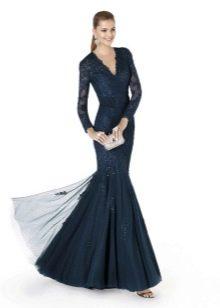Вечернее платье русалка с пышною юбкой