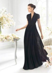 Вечернее черное платье в стиле ампир