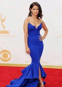 Синее вечернее платье с рукавами для женщин 40 лет