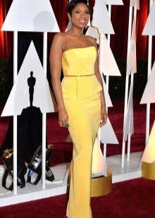 Желтое вечернее платье с рукавами для женщин 40 лет