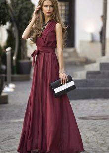 вечернее платье с рукавами для женщин 40 лет винного цвета