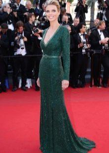 зеленое вечернее платье с рукавами для женщин 40 лет