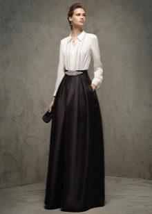 вечернее платье с рукавами для женщин 40 лет бело-черное