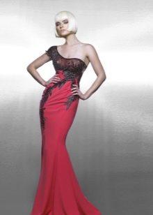 Красное вечернее платье русалка с кружевом