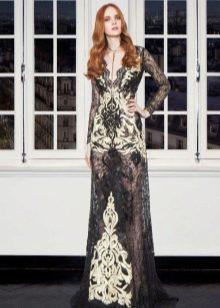 Кружевное черное платье для женщин 40 лет