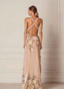 Вечернее платье на выпускной с полностью открытой спиной