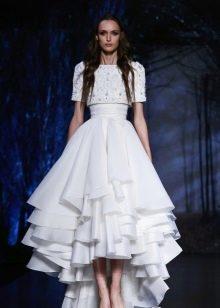 Платье миди короткое спереди длинное сзади