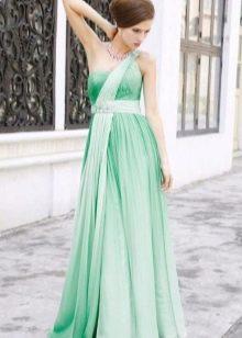 Зеленое свадебное платье в греческом стиле