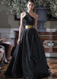 Черное свадебное платье на одно плечо
