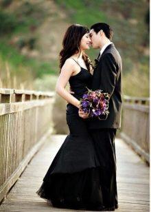Черное свадебное платье русалка