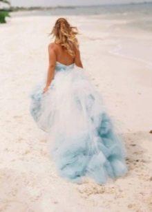 Свадебное платье белое с голубым