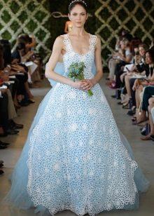 Свадебное платье голубое с белым