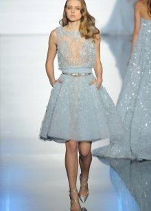 Короткое свадебное платье голубое