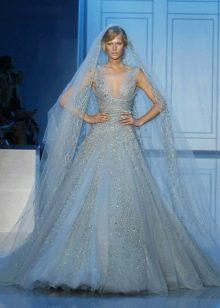 Свадебное платье голубое от Эли Сааб