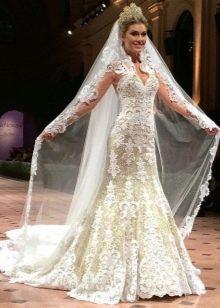 Белое свадебное платье в русском стиле