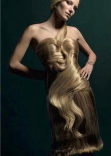 Вечернее платье сшитое из волос