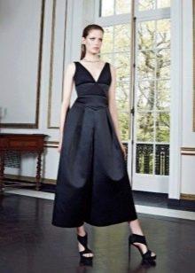 Черное праздничное вечернее платье миди