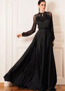 Черное вечернее платье праздничное в пол