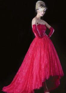 Свадебное красное платье короткое спереди длинное сзади