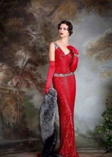 Красное свадебное платье в стиле винтаж