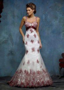 Русалка с красным кружевом свадебное платье