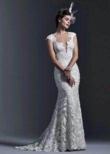 Свадебное платье кружевное русалка со шлейфом