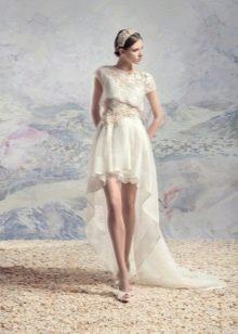 Свадебное  платье короткое спереди длинное сзади с кружевным верхом