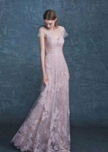 Цветное свадебное платье прямое с рукавом