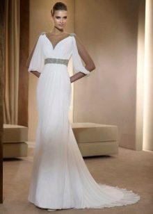 Греческое свадебное платье с рукавами летучая мышь