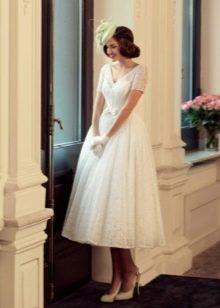 Свадебное платье миди с коротким рукавом