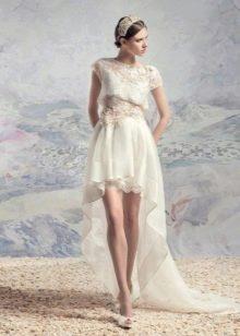 Платье свадебное с короткими рукавами короткое