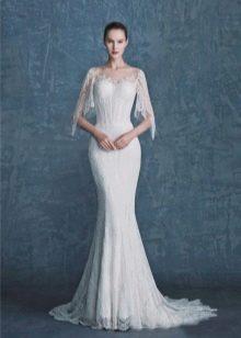 Свадебное платье русалка с рукавом коротким