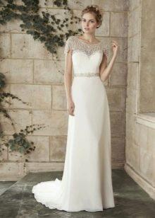 Ажурное прямое свадебное платье с рукавом и кружевом