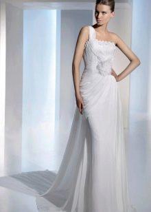 Элегантное прямое свадебное платье с одной бретелью