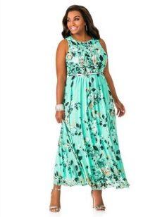 Вечернее платье с поясом для 52 размера