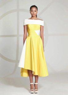Вечернее платье короткое желтое
