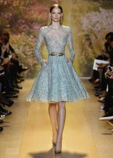 Голубое короткое вечернее платье