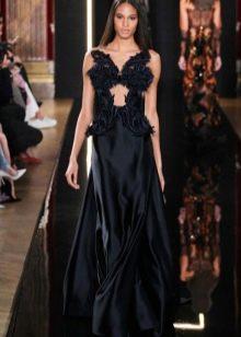 Шелковое черное платье вечернее от Валентина Юдашкина