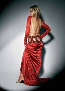 Шелковое вечернее платье с открытой спиной