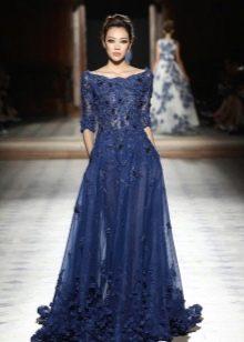 Синее вечернее платье для нового года