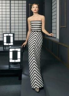 Бело-черное вечернее платье