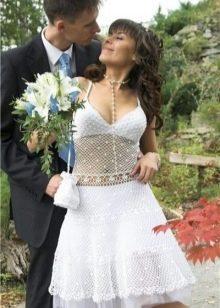 Вязанное кружевное свадебное платье крючком
