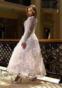 Пышное вязанное свадебное платье крючком