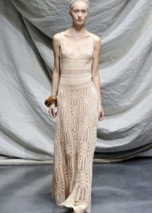 Вязанное подиумное свадебное платье