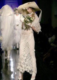 Платье свадебное вязанное крючком дизайнерское