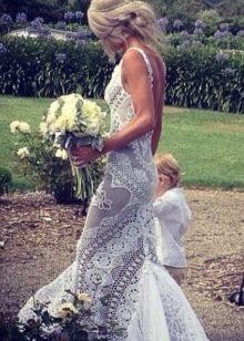 Вязанное свадебное платье крючком прямое
