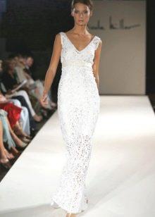 Подиумное вязанное свадебное платье крючком