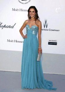 Вечернее платье в греческом стиле голубое