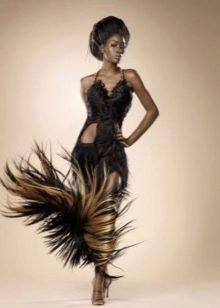 Вечернее платье из волос миди