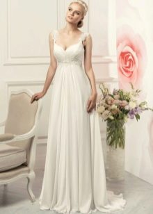 Свадебное платье ампир с кружевным поясом